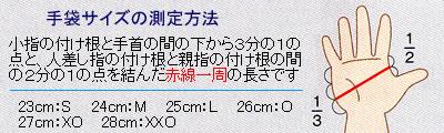 ハンマー手袋 サイズ測定方法